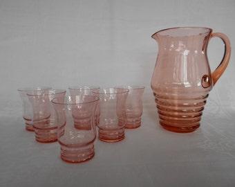 Vintage Pink Water Set Glass Lemonade Jug / Pitcher Six Glasses 1950's  #00100