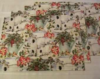 Christmas  Birdhouse Placemats Set