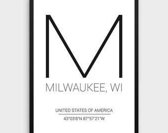 Milwaukee Printable Poster | Milwaukee Poster, Milwaukee Coordinates, Coordinates City Poster, Milwaukee Print, USA Print, Instant Download