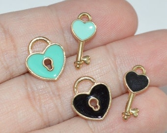 2 Sets Lock and Key Charms Enamel Gold Plated Charms -C103