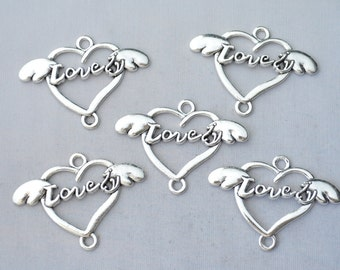 5 Pcs Heart Wings Charms Love Charms Pendants Antique Silver Tone 27x39mm - YD1769