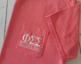 Sorority Shirts, Phi Sigma Sigma, Sorority T Shirt, Big Little Shirt, Greek Letter, Pocket T Shirt, Monogrammed Pocket, Personalized Shirt