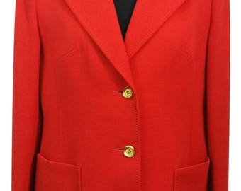 EASTEX Coat Size 14 Red Coat Designer Coat Outdoor Evening Office Everyday Coat Gold Buttons 1990s Womens Coat Red - Free UK Postage