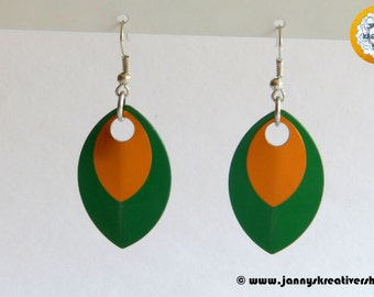 Earrings from scales, green and orange