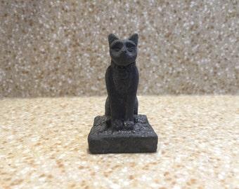 Vintage Egyptian Cat Statue - Miniature - Cute little Kitty Cat - Feline - Ancient Egyptian - Sphinx