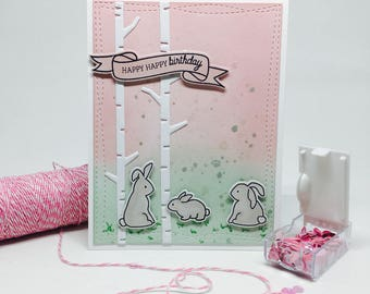 Handmade Birthday Card - Rabbit Theme