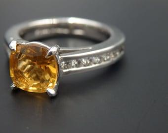 Sale! Platinum citrine diamond ring , size 6 with  3,5000  appraisal