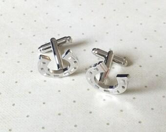 Horseshoe Horse Shoe Cufflinks Cuff Links in Silver