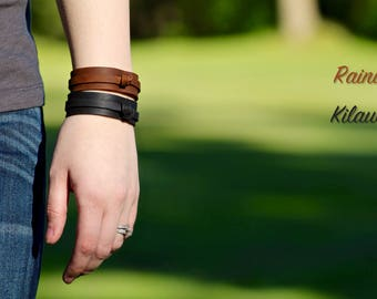 The Knotted Leather Bracelet - Brown or Black