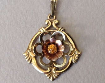 Harry Iskin Rose Gold 1/20th 10K GF Pendant and Fine 14K GF Chain Necklace