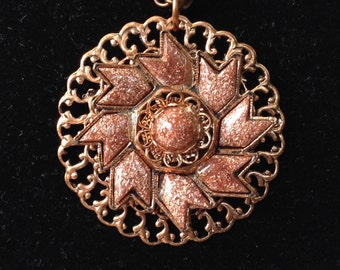 Fabulous Gold Stone and Copper Pendant Necklace