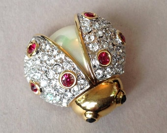 Carolee Limited Edition Gold Tone Pave Crystal Lady Bug Pin/Brooch