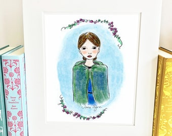 Jane Eyre art, Jane Eyre print,nursery artwork, literary art print, girls nursery art, classroom decor, nursery wall art, HJ1