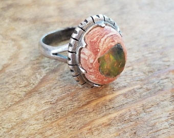 Jelly opal cabochon ring Mexican sterling silver jelly opal ring size 6.25 Vintage Mexican cantera opal ring unique ring NZ1819