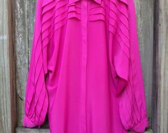 "Magenta Oscar de la Renta Blouse/Ruffled Oscar de la Renta/Pink Oscar de la Renta/80's Polyester Pink/Size 10/31""Long/24""Chest/20""Sleeve"