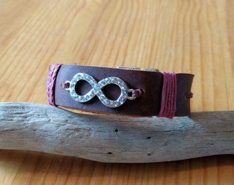 Leather Jeweled Infinity Bracelet with T-Clasp