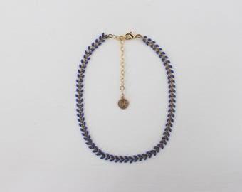 Chain Choker- Cobalt Arrow // Dark Blue & Gold