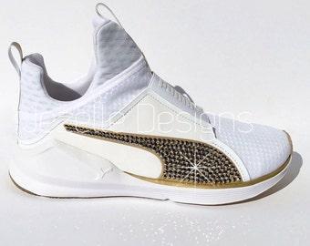 Bling Puma Shoes for Women with GOLD SWAROVSKI® Crystals - Kylie Jenner Puma Fierce - White & Gold Glitter Kicks - Swarovski Bling Shoes