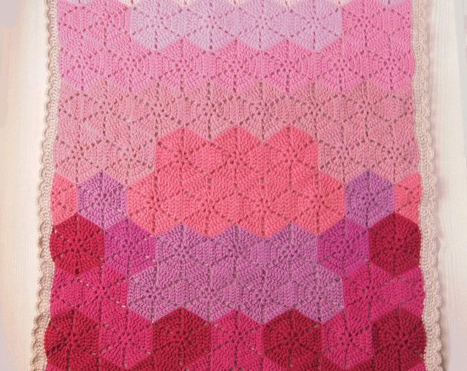 Crochet Baby Blanket, Pink Gradient Blanket, Hexagon Blanket, travel stroller size, Car seat Blanket, Crib Blanket