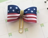 Planner clip, Paper Clip, American Flag Bow Planner Clip, Summer paperclip, red, white & blue bow diary journal decor, planner accessories