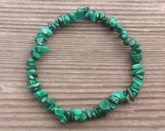 MALACHITE Natural Stone Gemstone Stretchy Chip Bracelet
