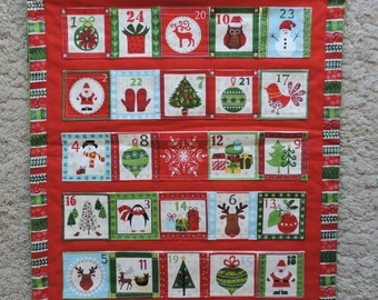 Christmas Advent Calendar. Red/green. Handmade