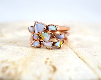 Opal Copper Ring / Raw Opal Ring / Copper Rings / Raw Stone Ring / Stacking Ring / Solitaire Ring / Triple Stone Ring / October Birthstone