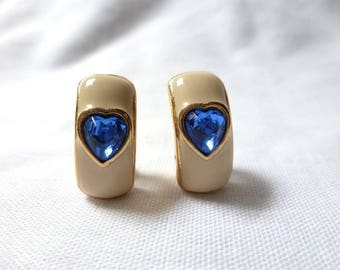 BLUE HEART enamel clip EARRINGS