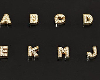 Gold  Alphabet Letter Charms,Rhinestone Pendant Initials Charms,Gold Plated Initials for Personalized Jewelry,DIY Charms