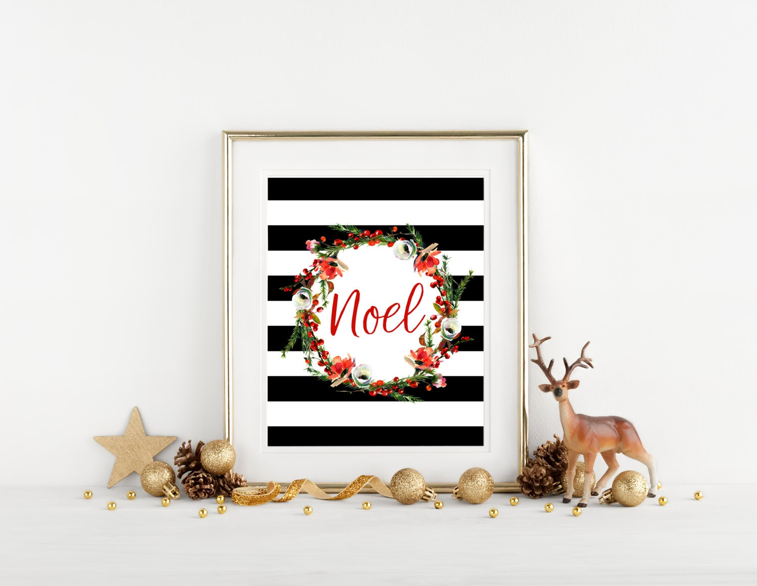 Printable Christmas Wall Decor, Red Noel Floral Wreath Holiday ...