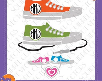 Sneakers/Canvas/Rock N Roll Shoe Monogram Frame SVG DXF EPS Cutting file