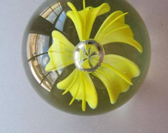 Yellow lily paperweight