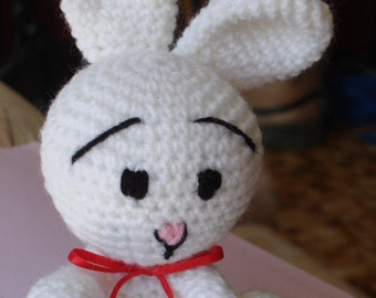 Bunny Rabbit - White with Red Ribbon - Amigurumi Toy