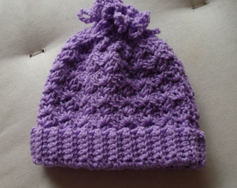 Baby Hat - crocheted in purple 8 ply acrylic yarn