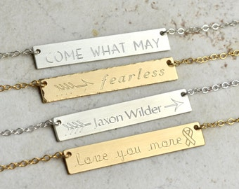 Personalized Bar Necklace, gold bar necklace, arrow necklace, mother necklace, mom gift, bridesmaid gifts, cancer necklace