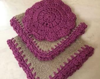 Hand Crochet Scrubby Mit Set