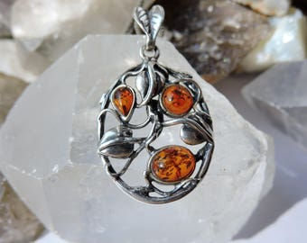 Amber Necklace Sterling Silver,Amber Jewelry