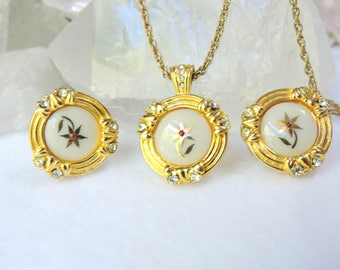 Lenox Necklace and Earrings Set/Vintage Hand painted Necklace Set Pierced