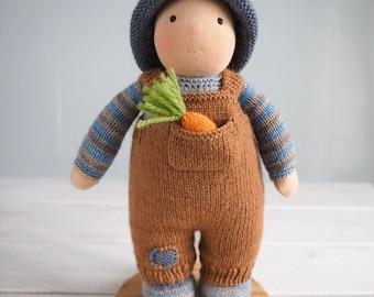 Little Gardener baby boy doll, waldorf doll, knitted doll boy, handmade doll, cloth doll, kids gift