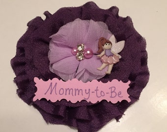 Baby Shower Corsage/ Purple Fairy Mommy-to-Be Corsage/ Fairy Corsage/ Fairy Mom-to-Be Corsage/ Fairy Baby Shower/ Pixie Baby Shower Pin