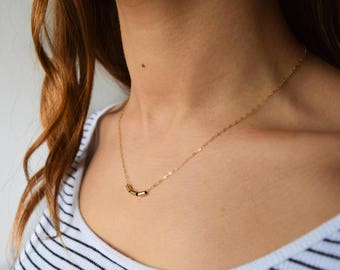 Solid Gold Necklace - Gold Nugget Necklace - Layering Necklace - Thin Gold Chain  - Delicate Necklace - Gold Barrel Necklace