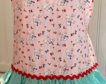Easter child's full apron, bunnies, bluebirds, red ricrac, eyelet lace, pink, aqua, ruffles