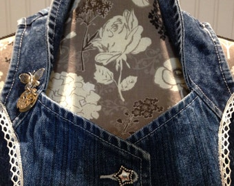 Women's denim vest, steampunk vest, lace bustle vest, watch face pin, vintage lace trim, upcycled denim vest, M women denim vest, repurposed