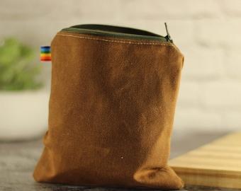 Reusable Snack Bag - Father's Day Gift - Reusable Sandwich Bag - Waxed Canvas Bag - Eco Friendly -  Snack Bags  - Zipper Pouch - Zipper Bag