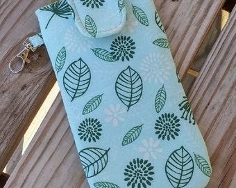 Eye Glass Case, Phone Case, Clip on, Green, Leaves, Sun Glasses Case