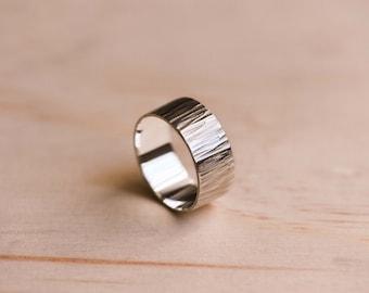 Straight Hammered Argentium Silver Ring