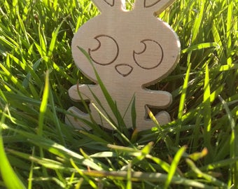 Happy Bunny - decoration made of plywood, kids' toy, craft supply, diy project