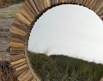 """Round rustic driftwood mirror 30"""" MADE TO ORDER"""