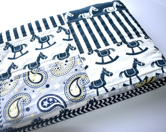 SHIPS TOMORROW! SALE - Little Cowboy quilt, Rocking Horse Quilt, Navy, Modern Quilt, Crib Quilt, Baby Blanket, Minky