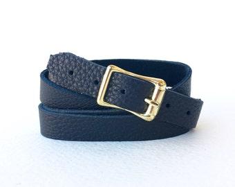 Black Leather Wrap Bracelet - Wraps Around 4 Times